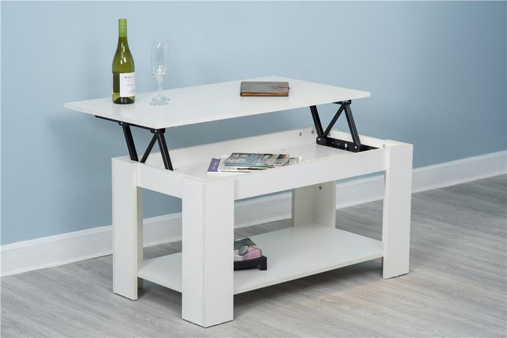 Hastings Lift Up Top White Coffee Table with Storage & Shelf - Furniture Maxi