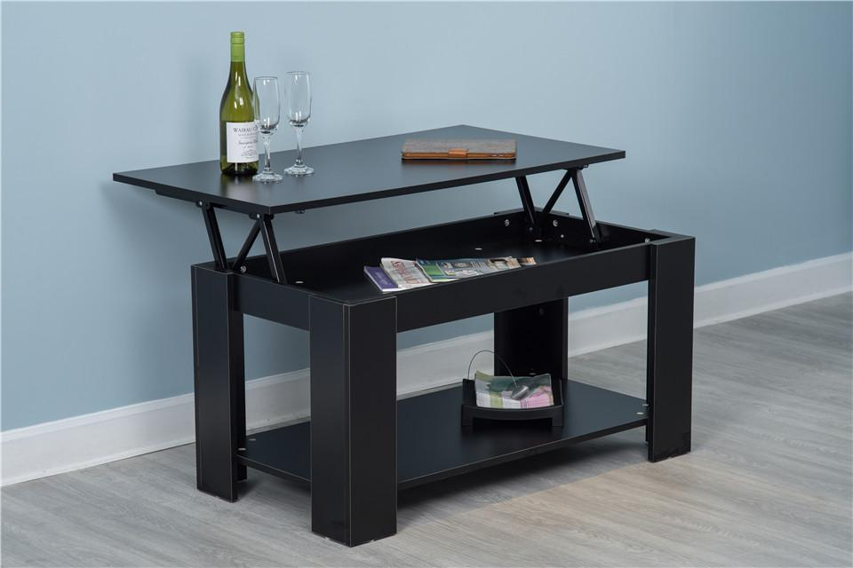 Hastings Lift Up Top Black Coffee Table with Storage & Shelf Living Room Furniture Furniture Maxi Black