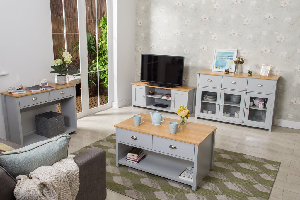4 Piece Heritage White Living Room Collection with Glass Cabinet ...