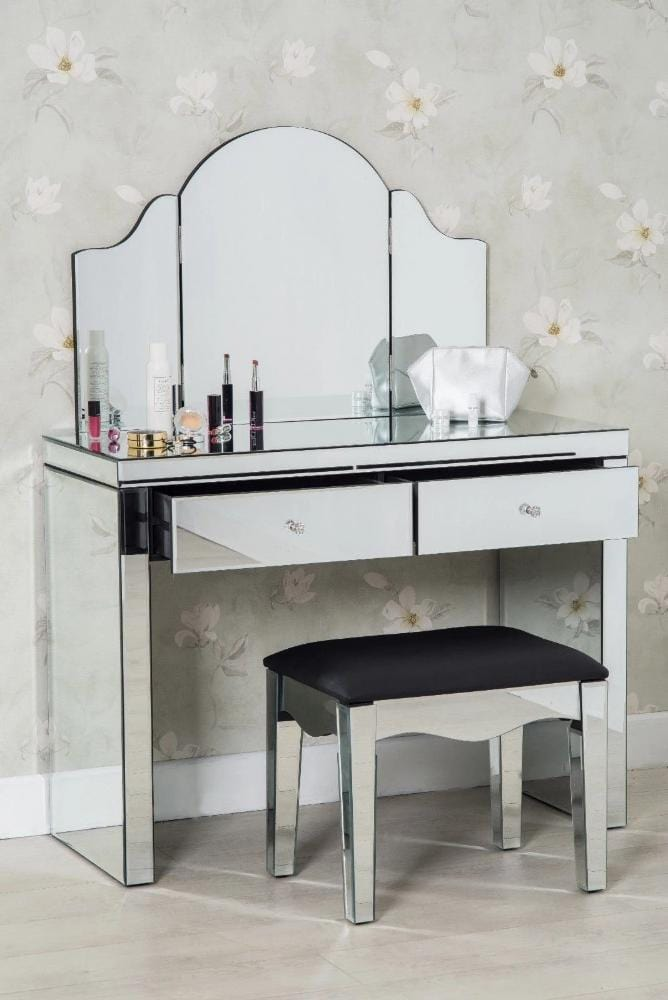 Mirrored Vanity Table And Stool: Glamour 3-Piece Modern Glass Dressing Table Set Stool And