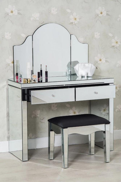 Dressing Table With Mirror And Stool: Glamour 3-Piece Modern Glass Dressing Table Set Stool And