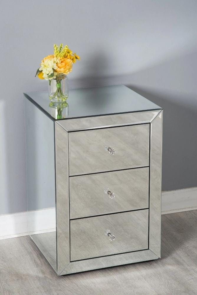 Glamor Mirrored Glass Bedside Table Chest of 3 Drawers Bedroom Furniture Furniture Maxi
