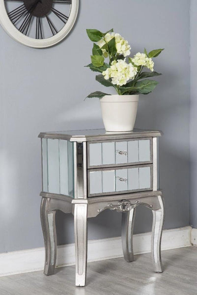 Mirrored Bedside Table With Drawers: Glamour Mirrored Glass 2 Drawer Bedside Table