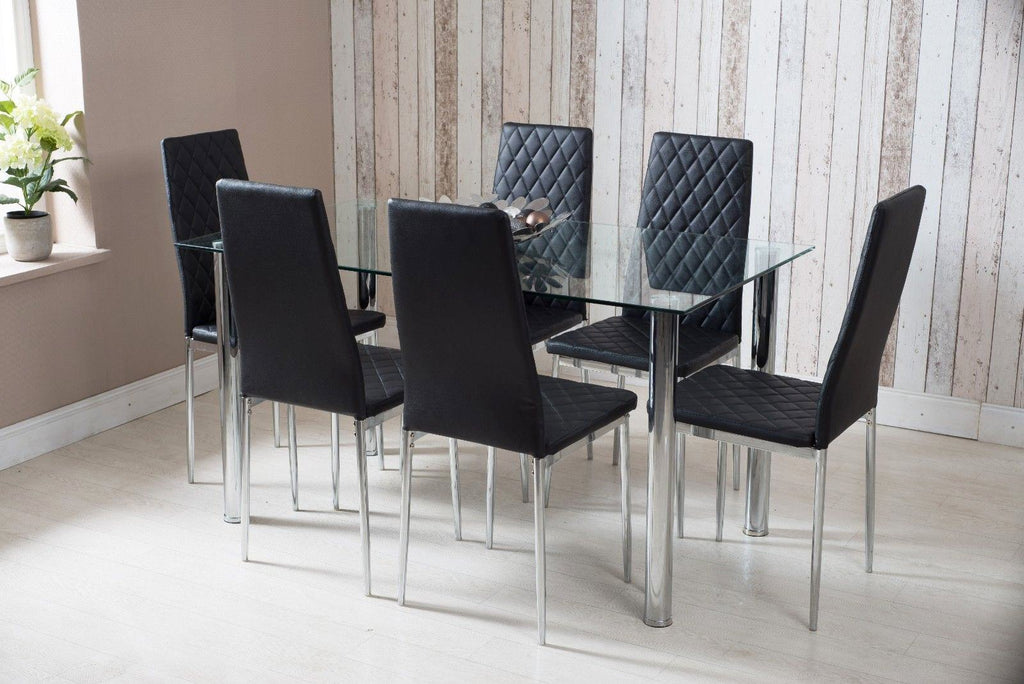 Rectangle Glass Dining Table and Black Faux Leather Chairs | Furniture Maxi
