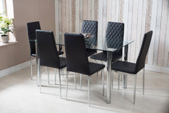 Rectangle Glass Dining Table and Black Faux Leather Chairs - Furniture Maxi