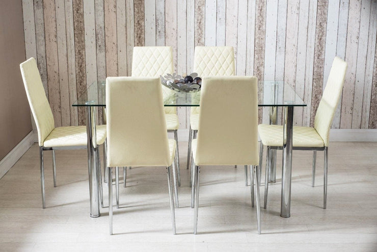 Rectangle Glass Dining Table and Cream Faux Leather Chairs - Furniture Maxi