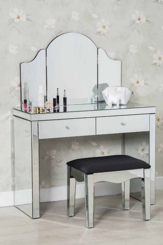. Glamour 3 Piece Modern Glass Dressing Table Set Stool and Mirror