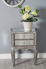 Glamorous Mirrored Glass 2 Drawer Bedside Table | Furniture Maxi