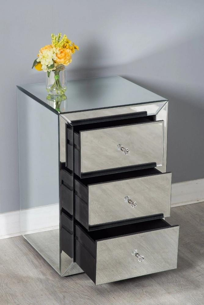 Mirrors Behind Bedside Tables: Glamour Mirrored Glass Bedside Table Chest Of 3 Drawers