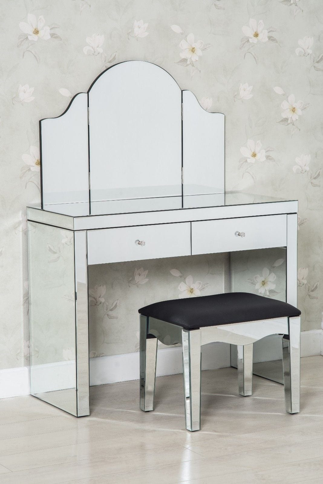 Glamour 3 Piece Modern Glass Dressing Table Set Stool And Mirror