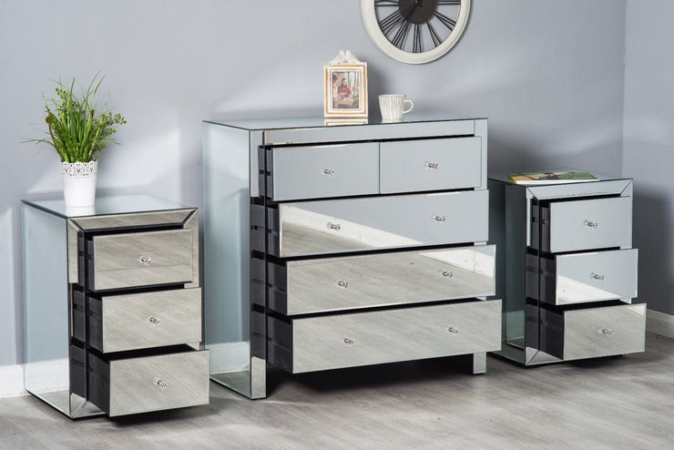 Glamour Mirrored Glass 3 Piece Drawer Bedroom Set - Furniture Maxi