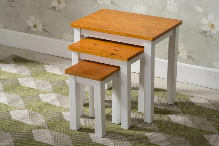 Pine Wood Nest Of Tables - Furniture Maxi