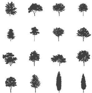 16 Small Trees - Vectorial drawings   - cutout trees
