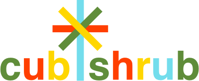 Cub Shrub logo. Green, orange, yellow and blue text with small tree icon.