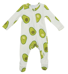 Avocado Velour Zipper Footie