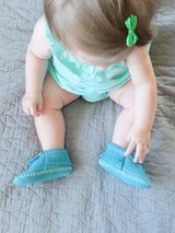 Turquoise Riley Leather Fringe Baby Moccasins