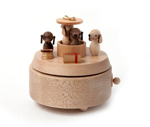 Puppies Wooden Music Box