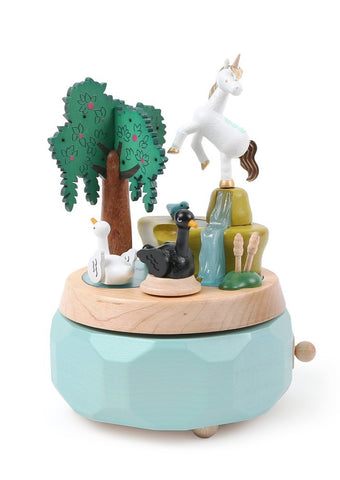 Unicorn and Swans Wooden Music Box