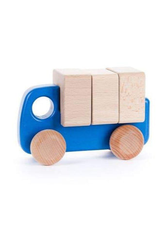 Wooden Car With Blocks - Blue