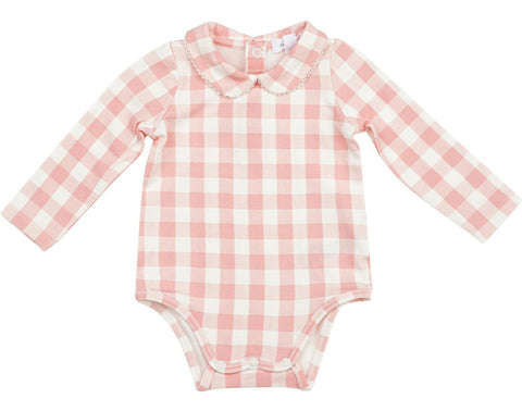 Pink Gingham Peter Pan Collar Bodysuit