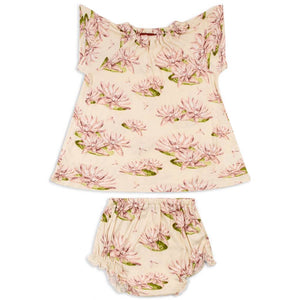 Organic Dress & Bloomer Set Water Lilly