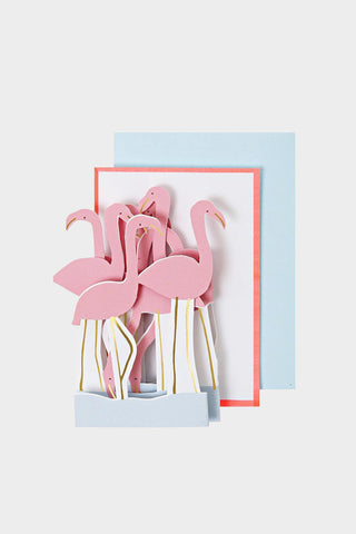 meri meri gift enclosure card flamingo
