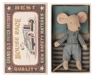 Little Brother Mouse in Matchbox with Plaid Shirt