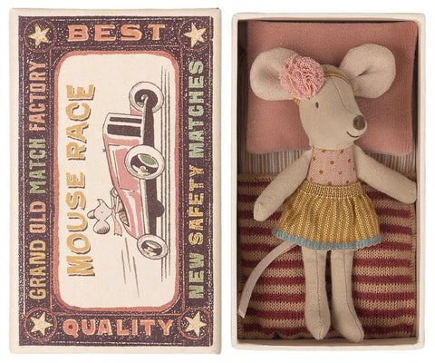 Little Sister Mouse in Matchbox with Polka Dots