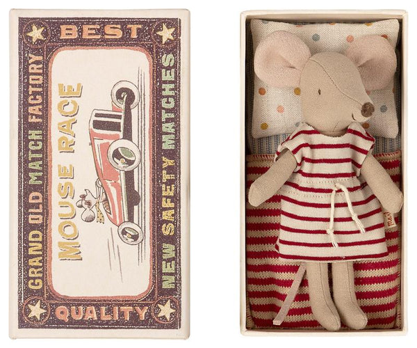 Big Sister Mouse in Red Stripe Dress in Box