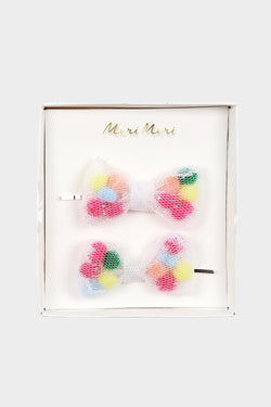 Pom Pom Net Bow Hair Slides