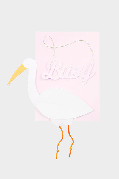 Pink Stork Honeycomb Card