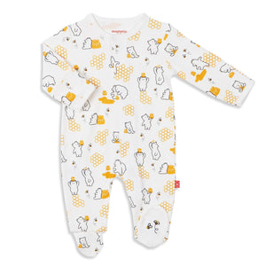 Honey Bee Organic Cotton Footed Romper
