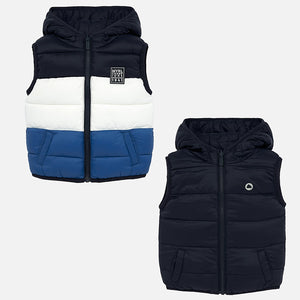 Navy Colorblock Reversible Puffer Vest