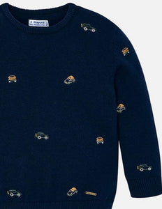 Cars Embroidered Sweater