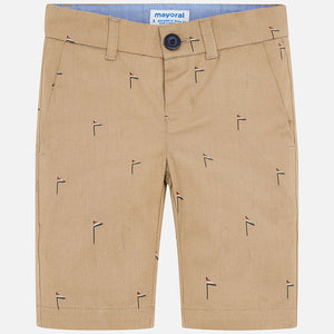 Khaki Flag Print Chino Shorts
