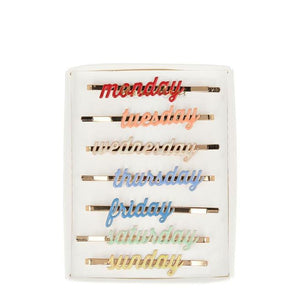 Enamel Weekday Hair Slides
