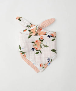 Muslin Reversible Bandana Bib - Watercolor Roses