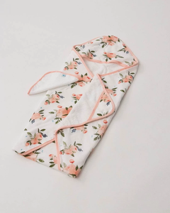 Watercolor Roses Hooded Towel & Washcloth Set