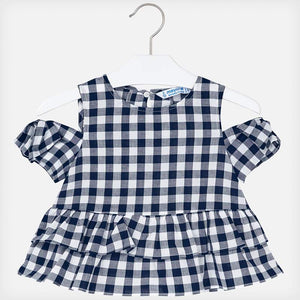 Navy Gingham Cold Shoulder Blouse