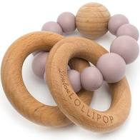 Bubble Silicone & Wood Teether - dusty mauve