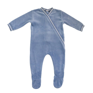 Powder Blue Velour Wrap Footie