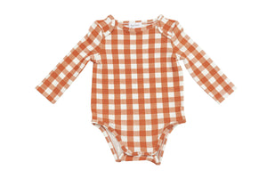 Gingham Pumpkin Lap Shoulder Onesie