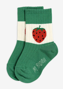 Green Strawberry Ribbed Socks