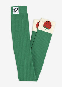 Green Ribbed Strawberry Leggings