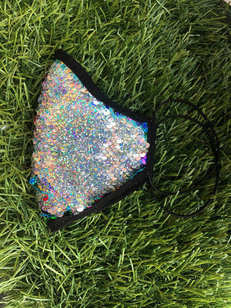 Kid Flip Sequin Face Mask Rainbow/Silver