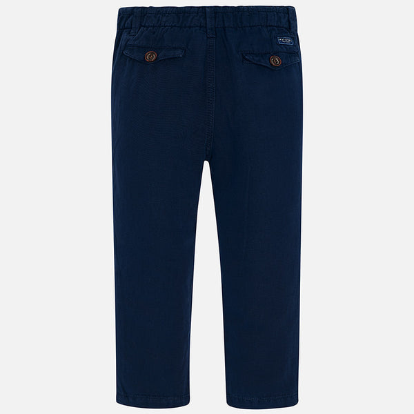 Navy Linen Drawstring Pants
