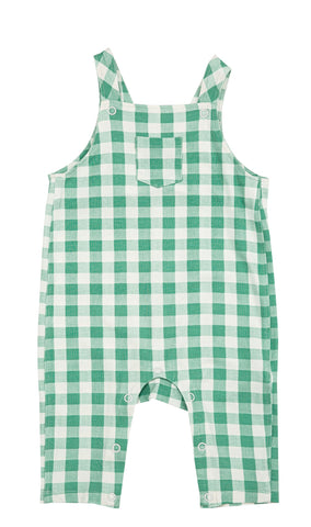 Green Gingham Pocket Coveralls