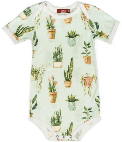 Bamboo S/S Onesie Potted Plants