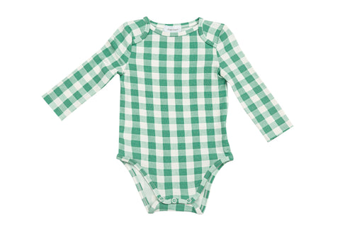 Green Gingham Lap Shoulder Onesie