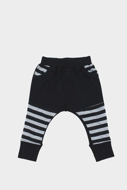 Black & Grey Stripe Slouch Baby Pants